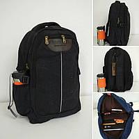 Черный текстильный рюкзак для школы с широкими лямками 43*28*16см, фото 1
