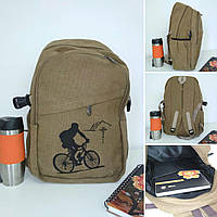 Школьный текстильный рюкзак с рисунком велосипедиста 45*29*16 см, фото 1