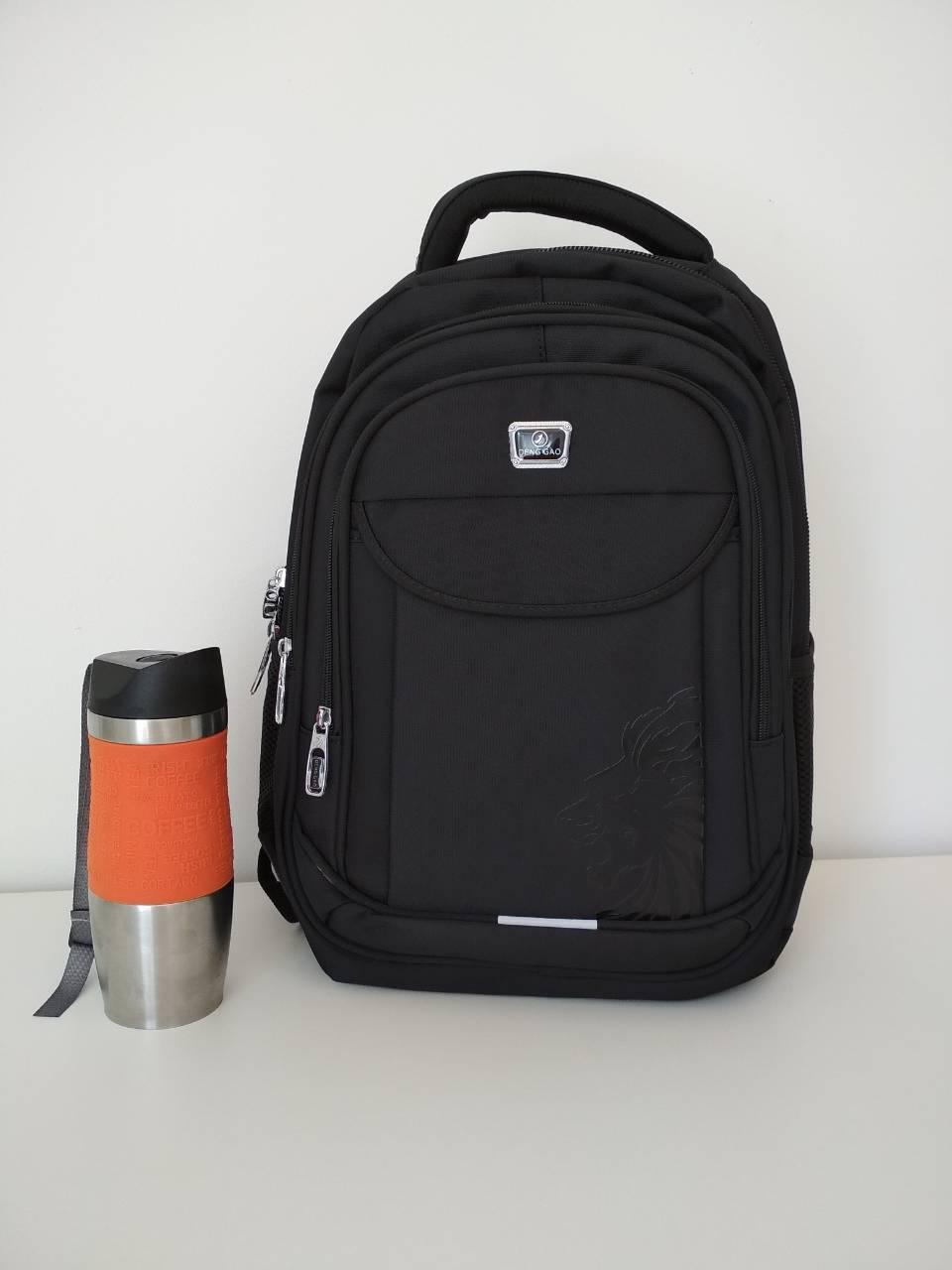 Школьный рюкзак черного цвета с тремя отделениями 46*16*30 см