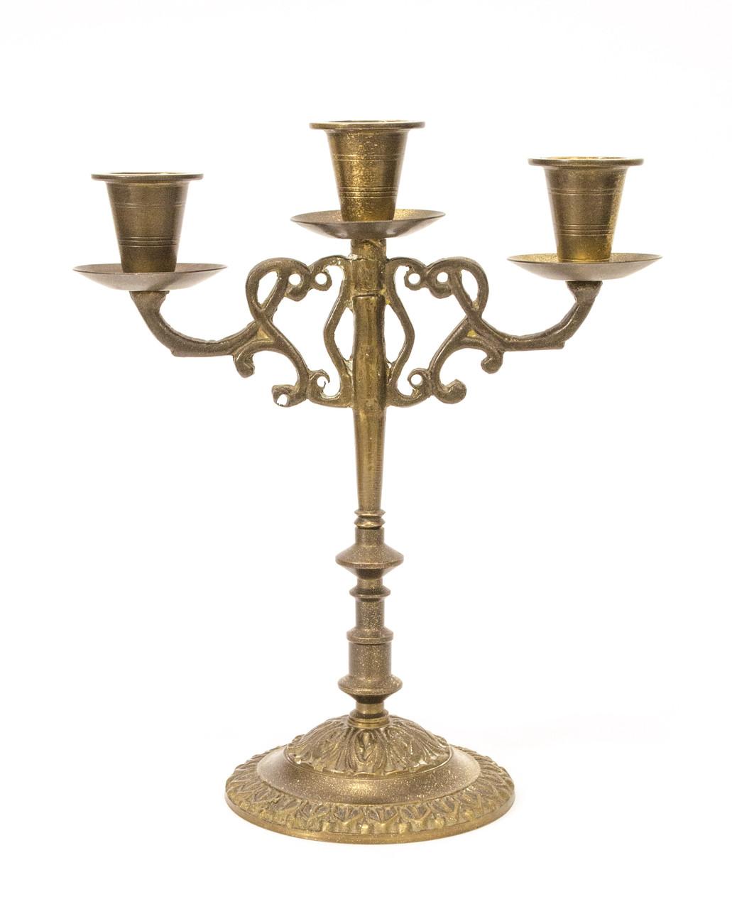 Бронзовий свічник на три свічки, лиття, бронза, Індія