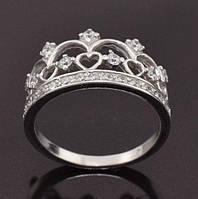 Серебряное кольцо-корона с мелкими цирконами