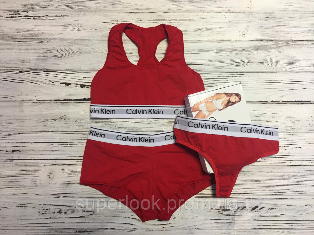 Тройка Женская Calvin Klein (топ+стринги+шортики) Красный — в ... b9766ed4f0a