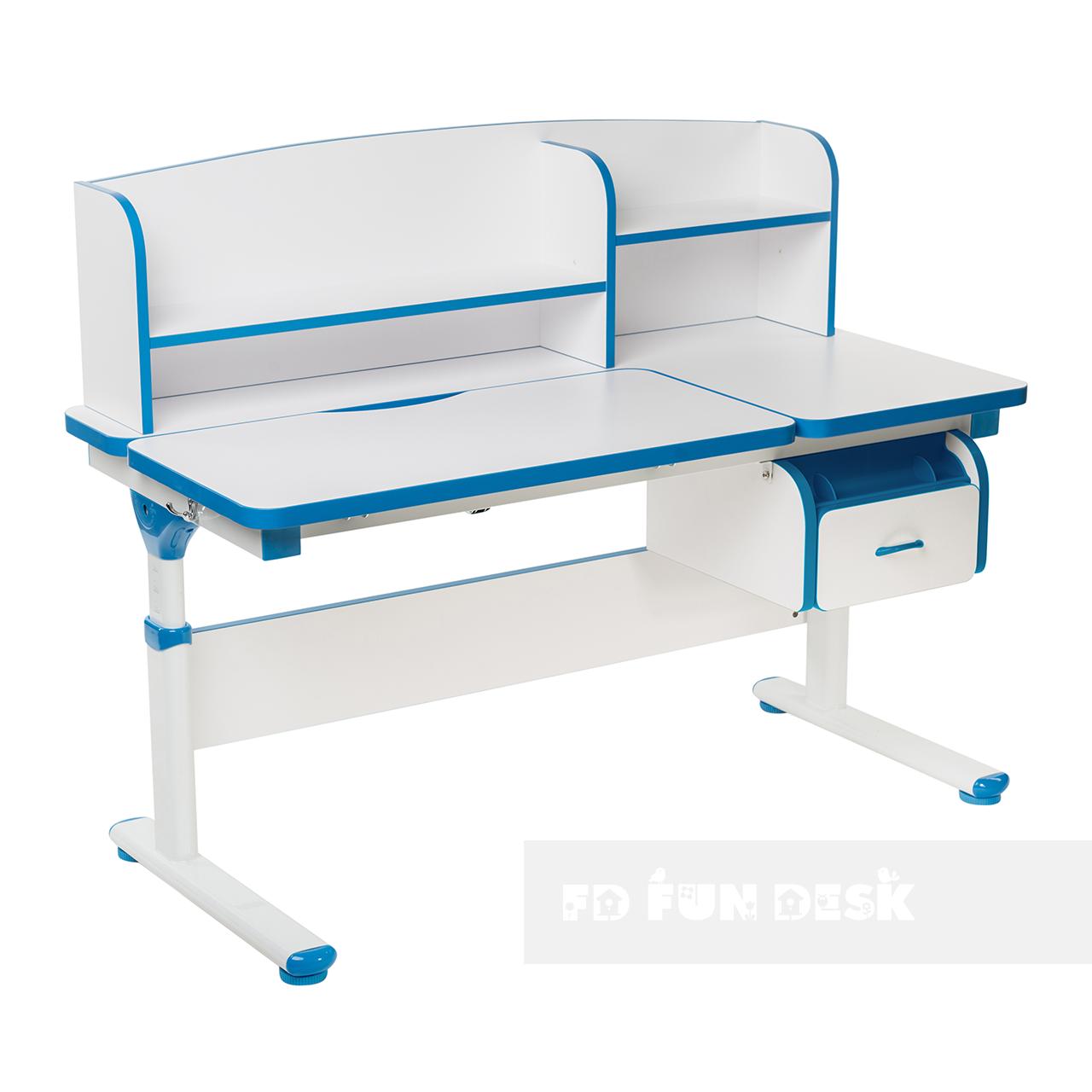 Регулируемая парта с надстройкой FunDesk Creare Blue и выдвижным ящиком