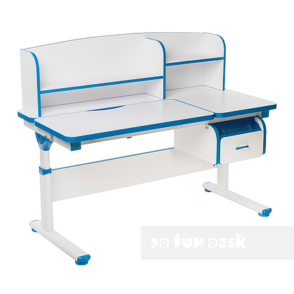 Регулируемая парта с надстройкой FunDesk Creare Blue и выдвижным ящиком, фото 2