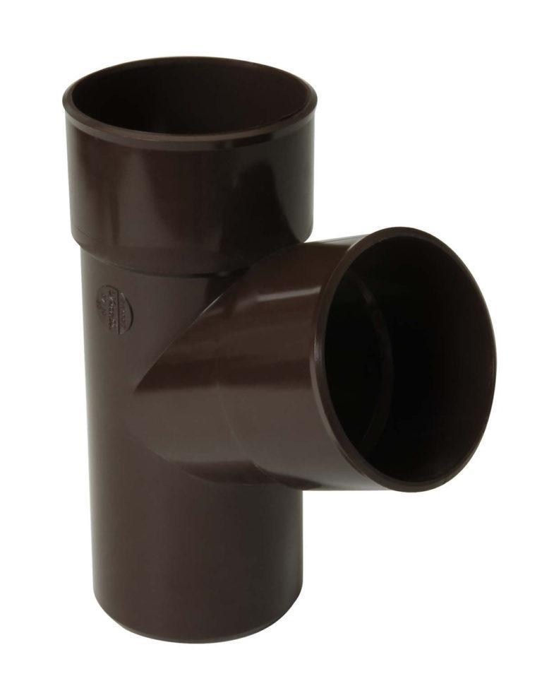 Тройник трубы Д=80мм, 67° коричневый