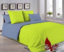 Однотонный двуспальный евро комплект постельного белья P-0550(3917)