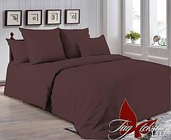 Однотонный двуспальный евро комплект постельного белья P-1317
