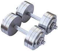 Гантели стальные 2*22 кг (Общий вес 44 кг) разборные, фото 1