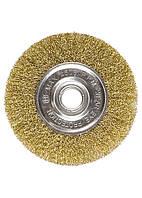 Щетка для УШМ, 125 мм, посадка 22,2 мм, плоская, латунированная витая проволока MATRIX