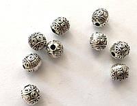 Бусина металлическая шар Этническая сталь 7 мм