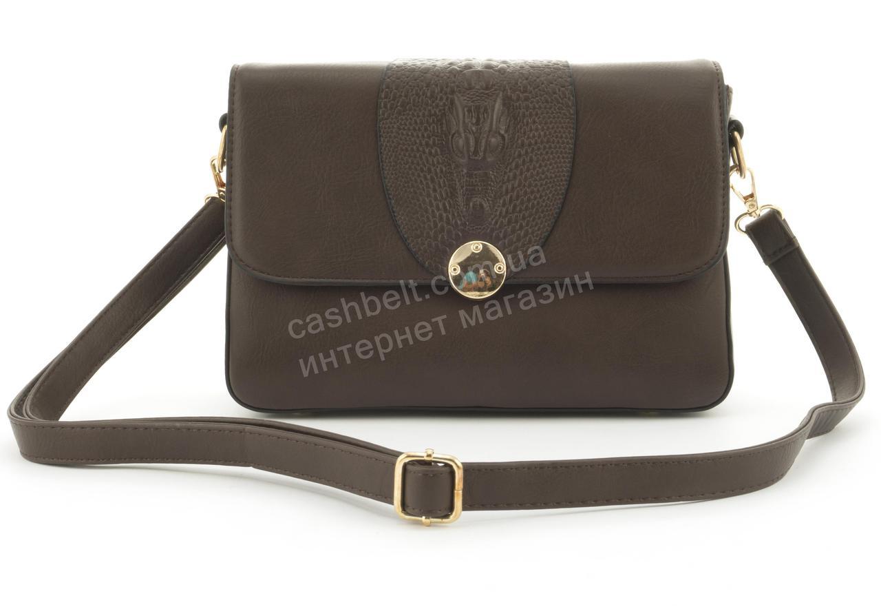 Оригинальная небольшая женская каркасная сумочка клатч Скорпион art.F-2888 темно коричневая