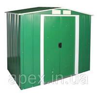 Сарай металлический ECO 262*182*191  см зеленый с белым