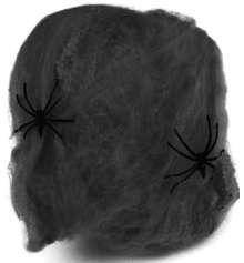 Паутина цветная с пауками (черная) 20гр