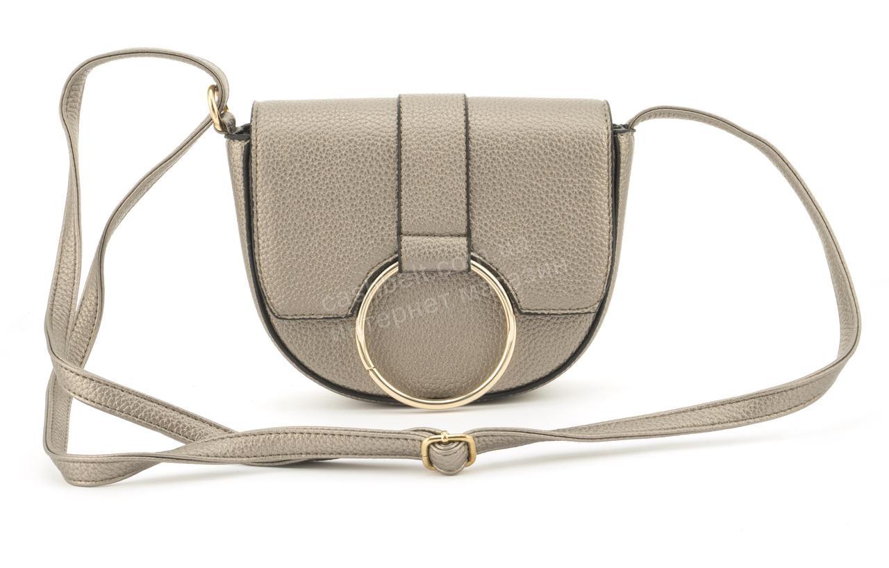 Оригинальная небольшая женская каркасная сумочка клатч LoveDream art. F11 бронзовая