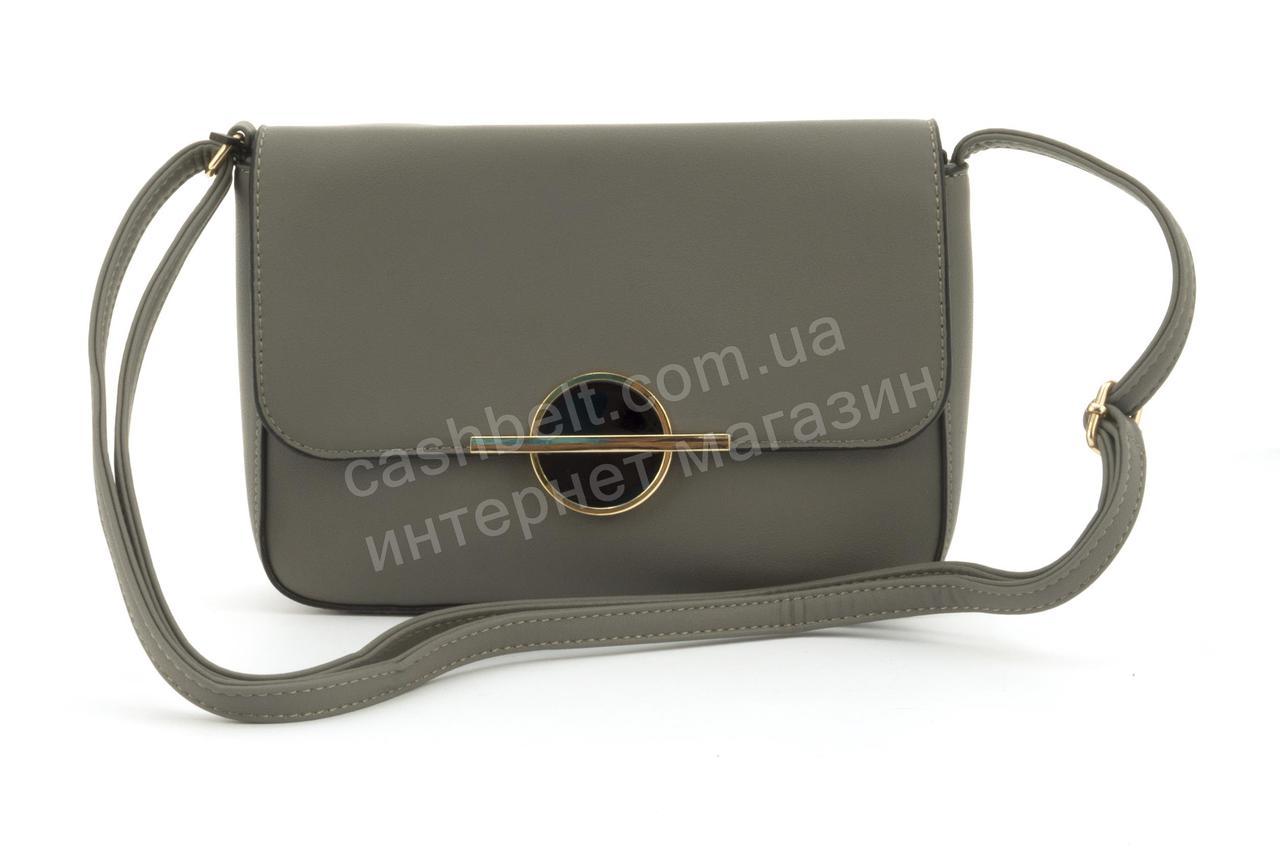 Оригинальная небольшая вместительная женская каркасная сумочка клатч LoveDream art. F8880 серая