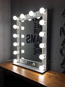 Зеркало с подсветкой Mens ДСП Светло-серый 12 ламп (Markson TM)