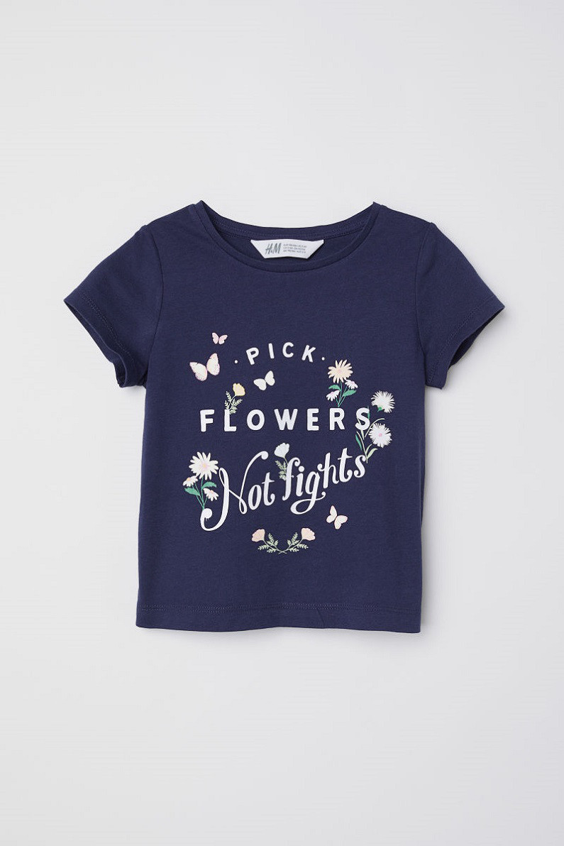 Футболка H&M Jersey Top with Printed Design
