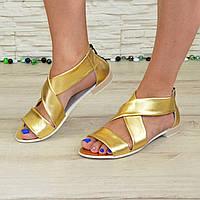 Кожаные женские босоножки римлянки, цвет золото