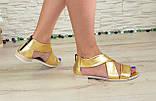 Кожаные женские босоножки римлянки, цвет золото, фото 2