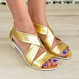 Кожаные женские босоножки римлянки, цвет золото, фото 3