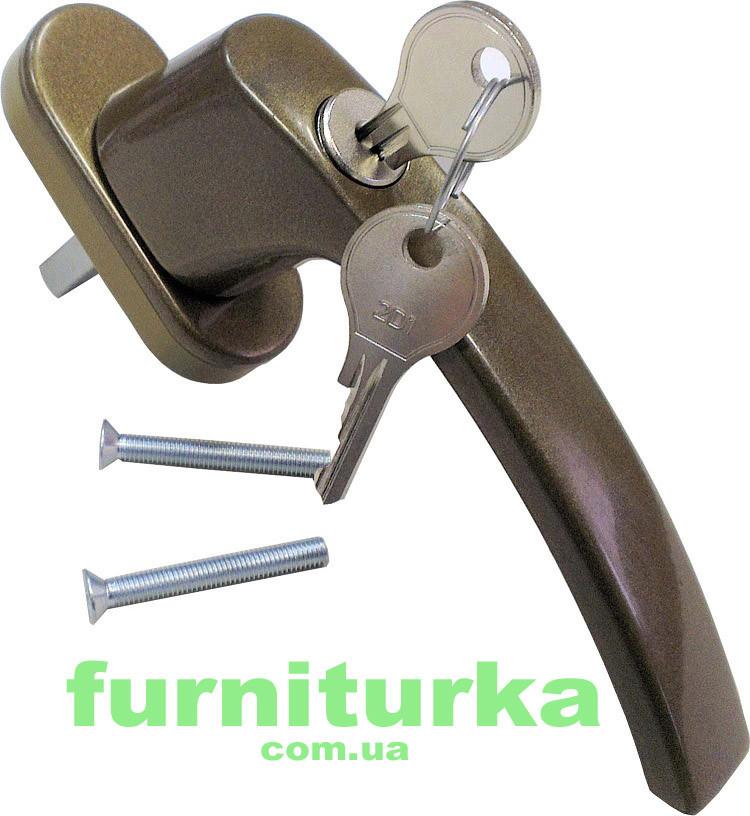 Ручка оконная с ключом (бронзовая)