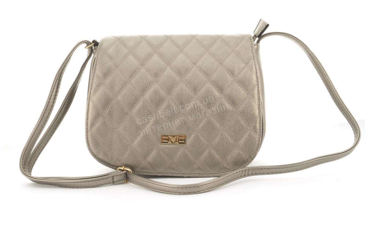 Удобная небольшая вместительная женская сумочка почтальонка Love Dream art. A1755 серебристая
