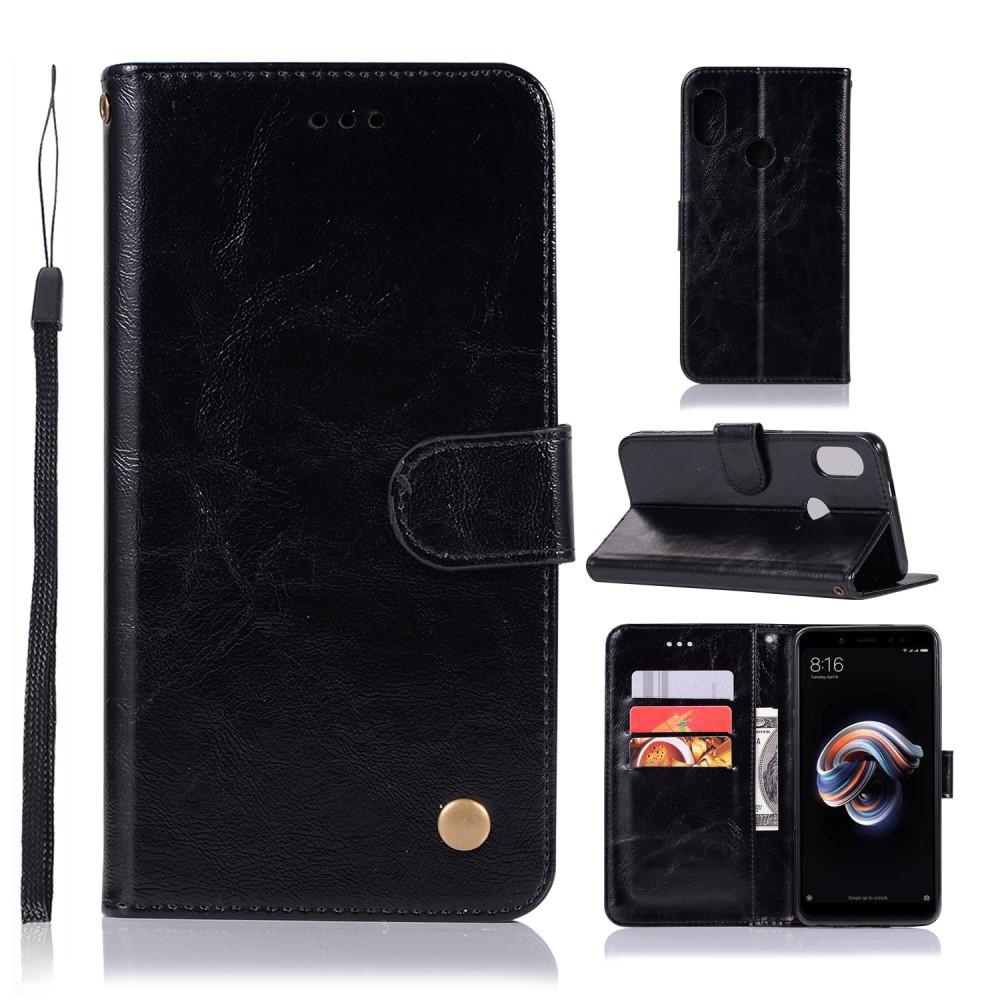 Чехол книжка для Xiaomi Redmi Note 5 Pro | Xiaomi Redmi Note 5 боковой, Premium Vintage, Черный