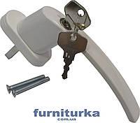 Ручка оконная с ключом штифт 45 мм (белая)