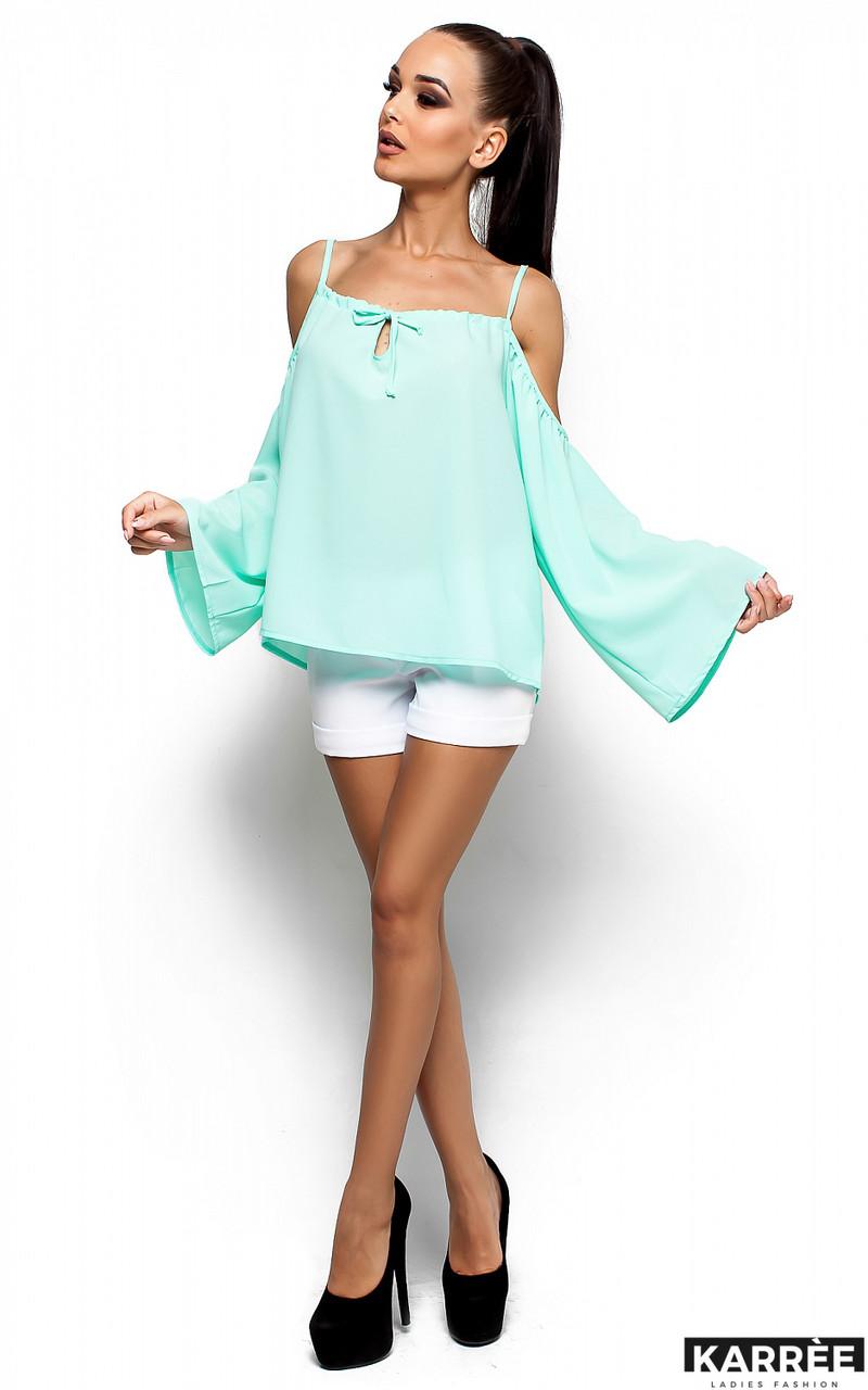 Блуза из легкой полупрозрачной ткани свободного кроя ментол
