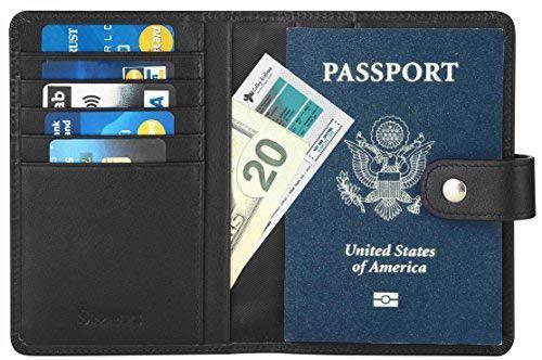 Кожаная обложка для паспорта, кошелек, кредитница с RFID защитой Simpac