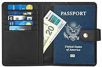 Кожаная обложка для паспорта, кошелек, кредитница с RFID защитой Simpac, фото 1