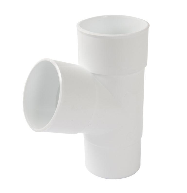 Тройник трубы Д=80мм, 67° белый
