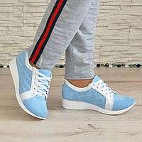 Кроссовки женские на утолщенной подошве, цвет белый/голубой, фото 1