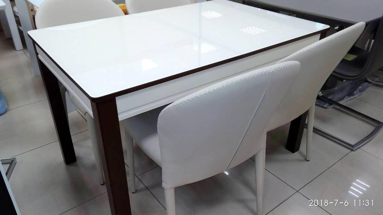 Стол кухонный деревянный со стеклом Сан-Ремо ТМ Биформер,  беж