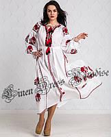 Длинное вечернее белое платье-вышиванка из льна в бохо стиле (размер 46UA RU d1e22bb96e940