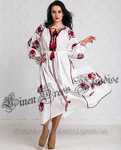 """Длинное вечернее белое платье-вышиванка из льна в бохо стиле (размер 46UA/RU). Модель """"Style"""""""