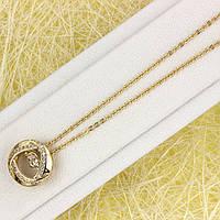 014-0871 - Позолоченная цепочка якорное плетение и подвеска Яблоко с прозрачными фианитами, 40+3 см