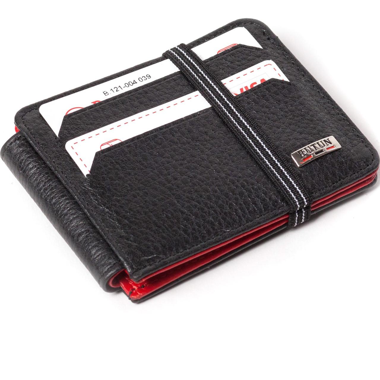 Кошелек-кредитница Butun 121-004-039 кожаный черный с красным