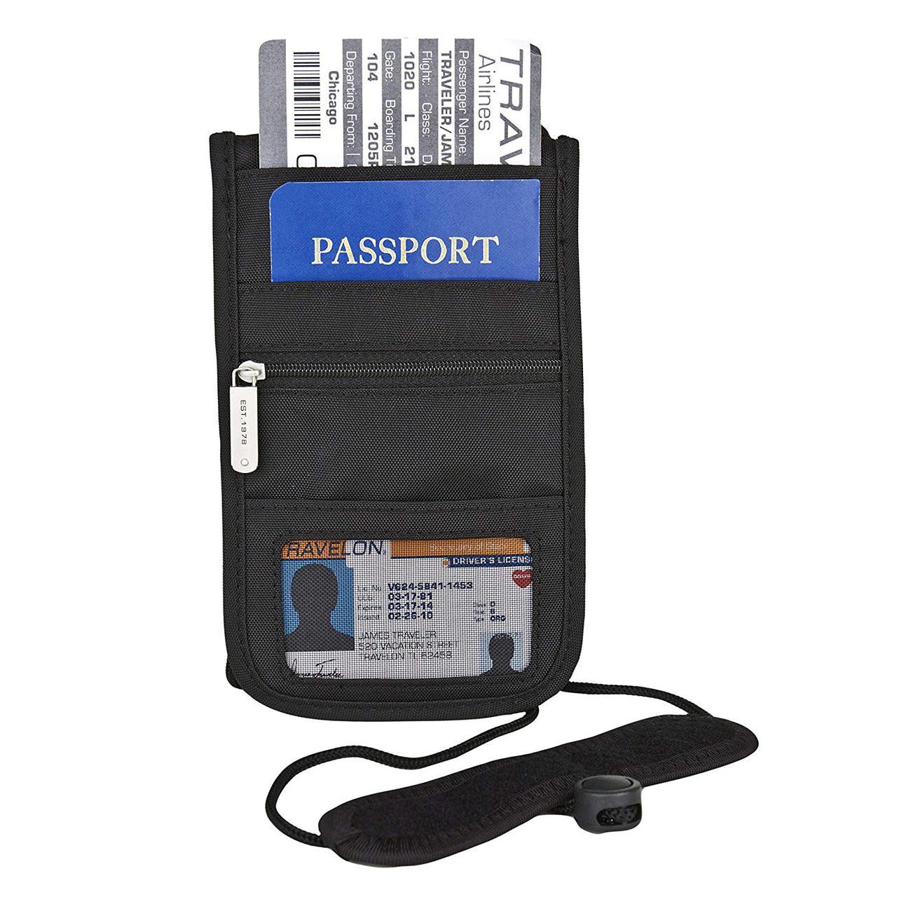 Дорожный кошелек-документница на шею с Rfid защитой Travelon Deluxe Boarding Pouch, Black, Small