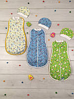 Спальник Кокон и шапочка для новорожденных на байке 01-1644, р.р.18-22, фото 1