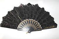 Веер черный тканевый ажур