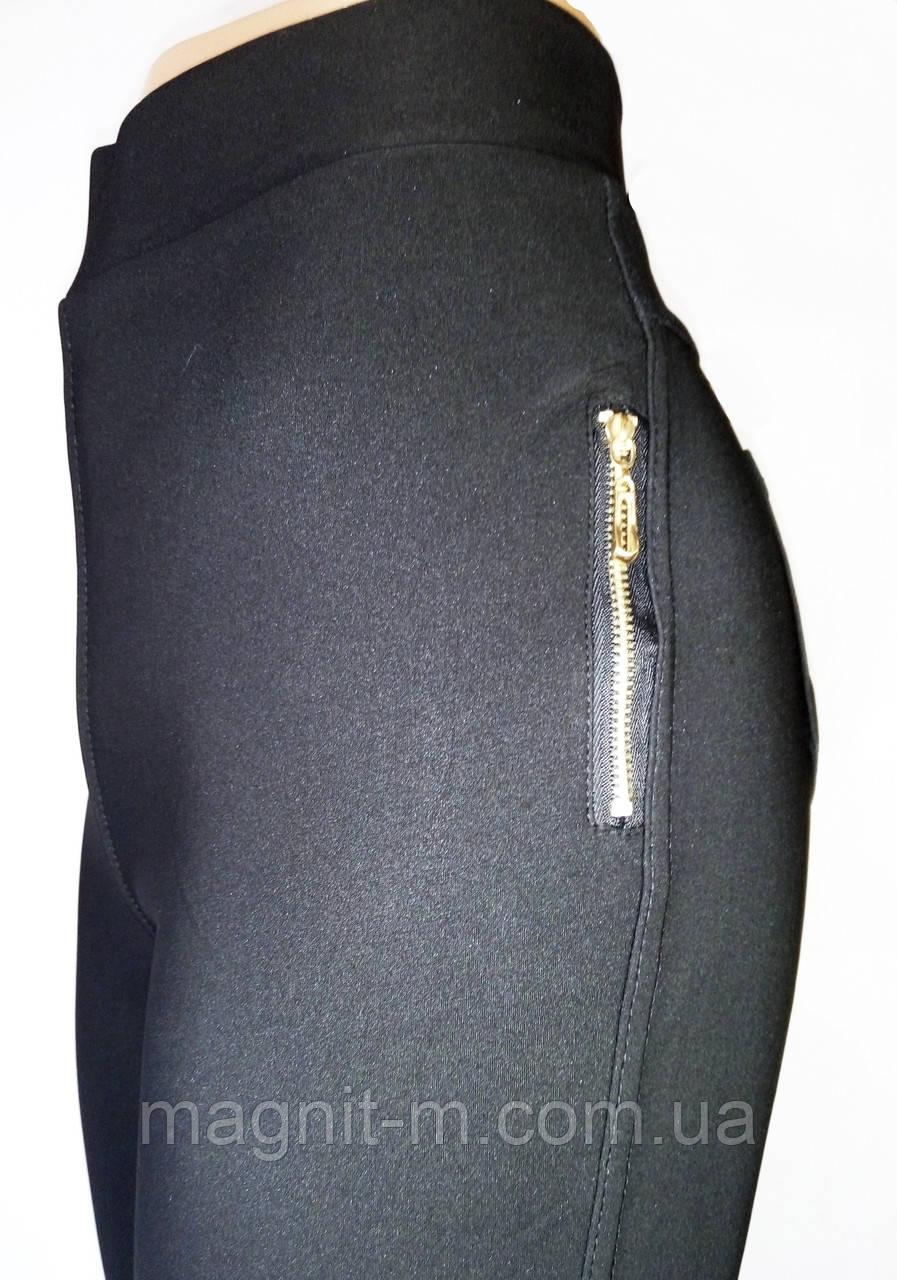 """Стрейчевые брюки """"Ласточка"""". Черные. Имитация кармана сбоку. Норма."""
