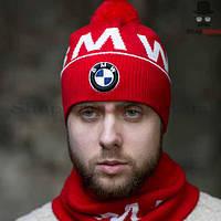 Комплект мужской (шапка+шарф) Gunner, BMW, красный