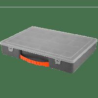 Органайзер для инструментов и мелочей 355х250х55 мм с крышкой (металлик)