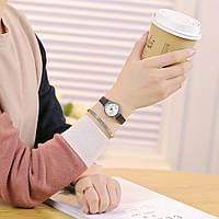 Часы наручные, Маленькие, Ремешок: Коричневый, Белый циферблат, Римские цифры