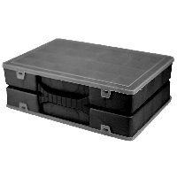 Двойной органайзер для инструментов 304х206х100 мм с крышкой (черный)
