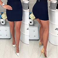 Классическая юбка Мини  42-48 р т. синий, фото 1