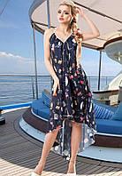Легкое воздушное синее летнее платье Д-1525
