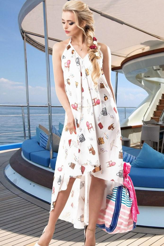 Легкое воздушное белое летнее платье Д-1526