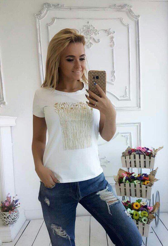 Женская футболка с аппликацией в виде колосьев42-46 р